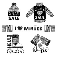 Set drawings knitted woolen clothing and footwear. Sweater, hat, mitten, boot, scarf with patterns. Winter sale shopping concept to design banners, price or label. Isolated vector illustration.