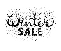 Winter sale text lettering. Seasonal shopping concept to design banners, price or label. Isolated vector illustration.