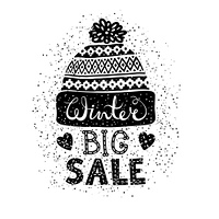 Winter Special banner or label with a knitted woolen cap.. Winter Special banner or label with a knitted woolen cap. Business seasonal shopping concept big sale. Isolated vector illustration.
