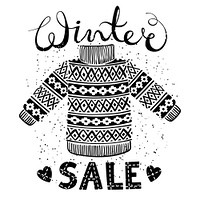 Winter Special banner, label with knitted woolen pullover or sweater. Business seasonal shopping concept sale. Isolated vector illustration.