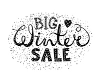 Winter big sale text lettering with heart. Seasonal shopping concept to design banners, price or label. Isolated vector illustration.