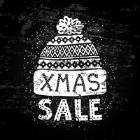 Winter Special banner or label with a knitted woolen cap. Business seasonal shopping concept sale.. Winter Special banner or label with a knitted woolen cap. Business seasonal shopping concept sale. Stylized drawing chalk on blackboard. Isolated vector il