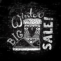 Winter Special banner or label with boot. Business seasonal shopping concept big sale.. Winter Special banner or label with boot. Business seasonal shopping concept big sale. Stylized drawing chalk on blackboard. Isolated vector illustration.