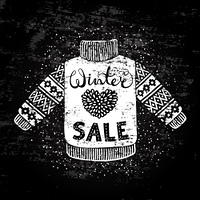 Winter Special banner or label with knitted woolen sweater. Business seasonal shopping concept sale.. Winter Special banner or label with knitted woolen sweater. Business seasonal shopping concept sale. Stylized drawing chalk on blackboard. Isolated vecto