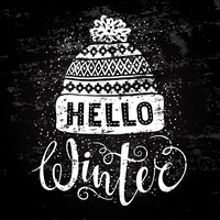 Hello winter text and knitted woolen cap. Seasonal shopping concept design for banner or label.. Hello winter text and knitted woolen cap. Seasonal shopping concept design for banner or label. Stylized drawing chalk on blackboard. Isolated vector illustra