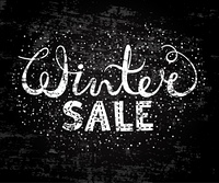Winter sale text lettering. Seasonal shopping concept to design banners, price or label. Stylized drawing chalk on blackboard. Isolated vector illustration.