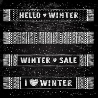 Winter Special banner or label with knitted woolen scarves. Business seasonal shopping concept sale.. Winter Special banner or label with knitted woolen scarves. Business seasonal shopping concept sale. Stylized drawing chalk on blackboard. Isolated vecto