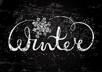 Winter text lettering with snowflake. Seasonal shopping concept to design banners, price or label. Stylized drawing chalk on blackboard. Isolated vector illustration.