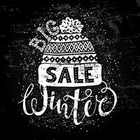 Winter Special banner or label with a knitted woolen cap. Business seasonal shopping concept big sale.. Winter Special banner or label with a knitted woolen cap. Business seasonal shopping concept big sale. Stylized drawing chalk on blackboard. Isolated v