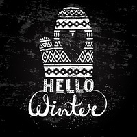 Hello winter text brush lettering and knitted woolen mitten with heart. Seasonal shopping concept design for the banner or label.. Hello winter text brush lettering and knitted woolen mitten with heart. Seasonal shopping concept design for the banner or l