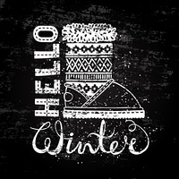 Hello winter lettering text Brush and boots. Seasonal shopping concept design for the banner or label.. Hello winter lettering text Brush and boots. Seasonal shopping concept design for the banner or label. Stylized drawing chalk on blackboard. Isolated v