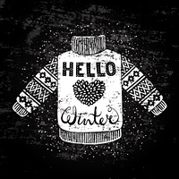 Hello winter text and knitted wool pullover with a heart. Seasonal shopping concept design for the banner or label.. Hello winter text and knitted wool pullover with a heart. Seasonal shopping concept design for the banner or label. Stylized drawing chalk