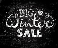 Winter big sale text lettering with heart. Seasonal shopping concept to design banners, price or label. Stylized drawing chalk on blackboard. Isolated vector illustration.