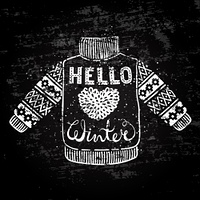 Hello winter text and knitted wool sweater with a heart. Seasonal shopping concept design for the banner or label.. Hello winter text and knitted wool sweater with a heart. Seasonal shopping concept design for the banner or label. Stylized drawing chalk o
