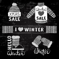 Set drawings knitted woolen clothing and footwear. Sweater, hat, mitten, boot, scarf with patterns. Winter sale shopping concept to design banners, price or label. Stylized drawing chalk on blackboard. Isolated vector illustration.