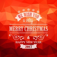 Typographic Retro Christmas Design. Typographic Retro Christmas Design on the red polygonal background
