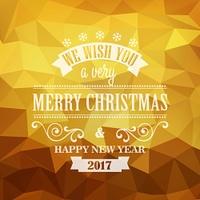 Typographic Retro Christmas Design. Typographic Retro Christmas Design on the golden polygonal background