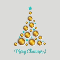 Christmas tree. Vector greeting. Vector illustration gold Christmas tree. Holiday background with baubles and star