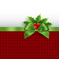 Christmas decoration with holly leaves. Christmas decoration with holly leaves and bow
