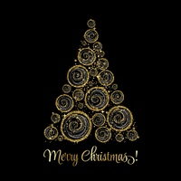 Christmas tree. Vector greeting. Vector illustration gold Christmas tree. Holiday background with baubles