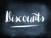 Discounts handwritten on a chalkboard