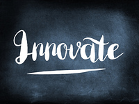 Innovate handwritten on a chalkboard
