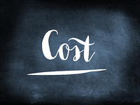 Cost handwritten on a chalkboard