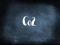 Co2 written on a blackboard