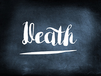 Death handwritten on a chalkboard