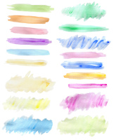 Set of abstract horizontal watercolor blots for design