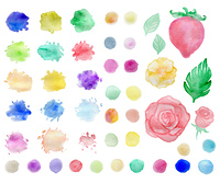 Set of abstract watercolor blots and elements for design