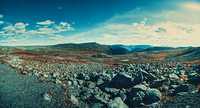 Norway high mountains panorama. Film style color effects.