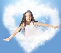 Little woman flying through a heartshaped cloud