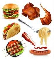 Fast food, set vector icons