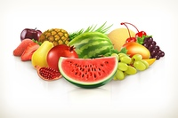 Harvest,  juicy fruit and berries vector illustration isolated on white