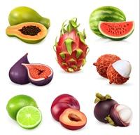 Juicy ripe sweet fruit. Vector icon set
