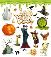 Halloween 3d vector icons. Pumpkin, ghost, spider, witch, vampire, candy corn. Set of cartoon characters and objects, greetings text Happy Halloween for invitation cards and posters