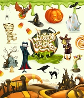 Halloween 3d vector illustrations. Pumpkin, ghost, spider, witch, vampire, zombie, grave, candy corn. Set of cartoon characters and objects, greetings text Happy Halloween for invitation cards and posters