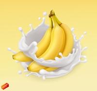 Banana and milk splash. Fruit and yogurt. Realistic illustration. 3d vector icon