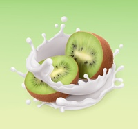 Kiwi fruit and milk splash. Fruit and yogurt. Realistic illustration. 3d vector icon