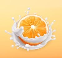 Orange fruit and milk splash. Fruit and yogurt. Realistic illustration. 3d vector icon