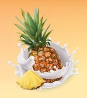 Pineapple and milk splash. Fruit and yogurt. Realistic illustration. 3d vector icon