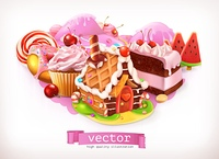 Sweet shop. Pink. Confectionery and desserts, gingerbread house, cake, cupcake, candy. 3d vector illustration. Sweet shop. Pink. Confectionery and desserts, cake, cupcake, candy. 3d vector illustration