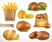 Potato and fry chips. Vegetable 3d vector icon set