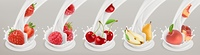 Fruit, berries and yogurt. Realistic illustration. 3d vector icon set 4