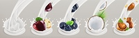 Fruit, berries and yogurt. Realistic illustration. 3d vector icon set 5