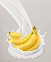 Milk splash and banana. 3d vector object. Natural dairy products