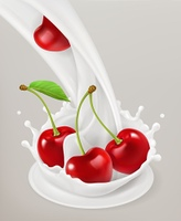 Milk splash and cherry. 3d vector object. Natural dairy products