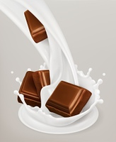 Milk splash and chocolate. 3d vector object. Natural dairy products