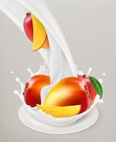 Milk splash and mango. 3d vector object. Natural dairy products